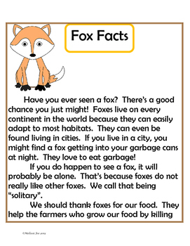 Informational Text-Fox Facts-Non fiction selection with comprehension activities