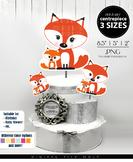 Fox Family Mom & Baby Centerpiece, Cake Topper, Clip Art Decoration in Orange