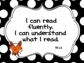 "Fox Fun Common Core ""I CAN"" Statements Full Page Posters for Grade 2"
