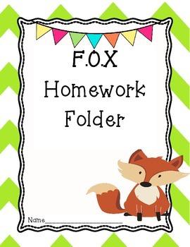 Fox Homework Folder Cover