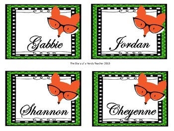 Fox Inspired Name Labels