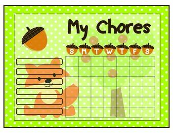 Fox Printable Chore Chart