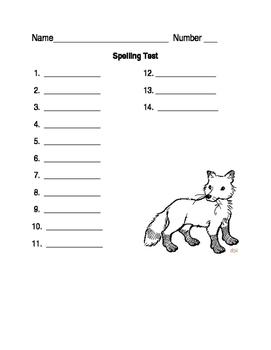 Fox Spelling test worksheet