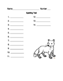 Fox Spelling test worksheet