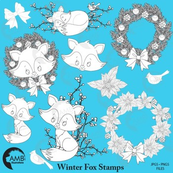 Fox Stamps Clipart, Cute Foxes Digital Stamps Clipart, Baby Foxes, AMB-2323