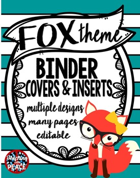 Fox Theme Binder Covers and Inserts