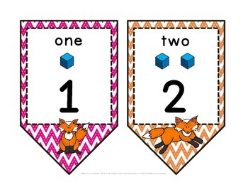 Fox Theme Chevron Printable Number Line Pennant Banner Classroom Decor