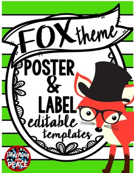 Fox Theme Label and Poster Templates ***editable***