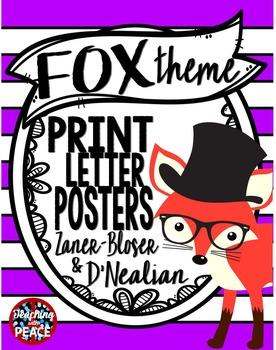 Fox Theme Manuscript Letter Posters **includes Spanish alphabet**