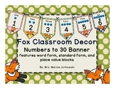 Fox Theme Polka Dot Printable Number Line Pennant Banner Classroom Decor