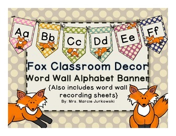 photo relating to Printable Alphabet Banner known as Fox Topic Polka Dot Printable Term Wall Alphabet Banner Pennant Clroom Decor