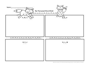 Fox Theme Polka Dot Printable Word Wall Alphabet Banner Pennant Classroom Decor