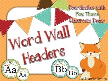 Fox Theme Word Wall Headers