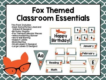 Fox Themed Classroom Essentials (Editable)