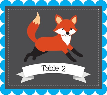 Fox Themed Table Posters