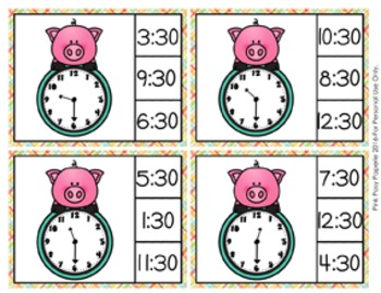 Pig Time to the Half Hour Clip Cards