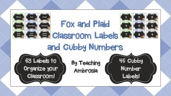 Fox and Plaid Classroom Organization Labels and Cubby Numbers