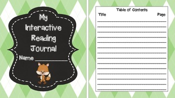 Fox and Plaid Interactive Journal Covers with Matching Tables of Contents