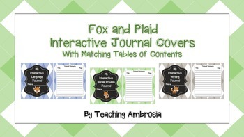Fox and Plaid Interactive Journal Covers with Matching Tab