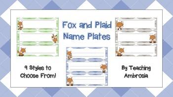 Fox and Plaid Name Plates