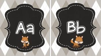 Fox and Plaid Print Alphabet in Beige
