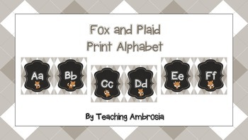 Fox and Plaid Print Alphabet in Beige