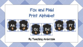 Fox and Plaid Print Alphabet in Blue