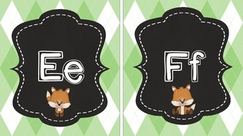 Fox and Plaid Print Alphabet in Green