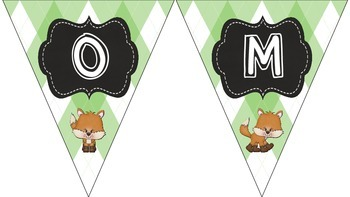 """Fox and Plaid Welcome Bunting Banner """"The Fox Says Welcome!"""""""