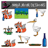 Fox and Stork Fable Clip Art in Color and Black Line