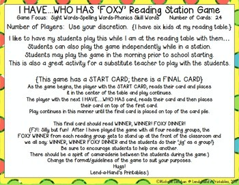 Reading Street, Fox and a Kit,  I Have Who Has? Game by Ms. Lendahand:)