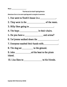 Fox and the Stork Spelling Review Sheets Harcourt Thropies 1st grade