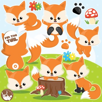 Fox clipart commercial use, vector graphics, digital  - CL994
