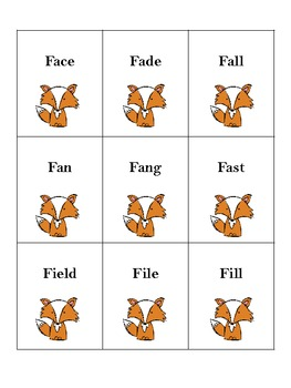 Fox /f/ Word Cards
