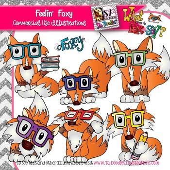 Fox in Glasses clip art
