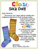 Fox in Socks Crazy Sock Day Parent Letter - Dr. Seuss Week