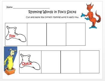 Fox in Socks - Rhyming Words Practice
