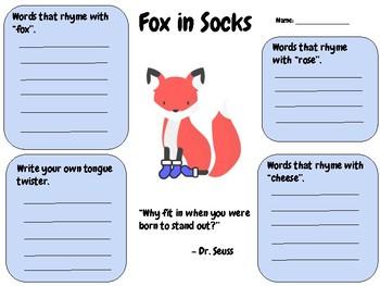 Fox in Socks - Writing Activity (Dr. Seuss) Read Across America!