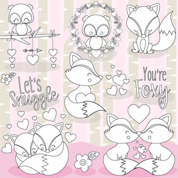 Fox valentine stamps commercial use, vector graphics, images  - DS1053