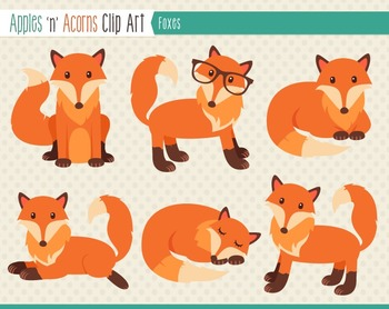 Foxes Clip Art - color and outlines