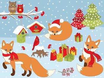 Foxes Clipart - Digital Vector Fox, Christmas, Winter, Cardinal, Owls Clip Art