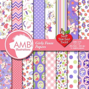 Foxes digital papers, Forest Animals Digital Paper {Best Teacher Tools} AMB-1378