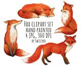 Foxes - watercolor clipart set