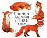 Foxes - watercolor clipart set