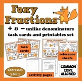 Foxy Fractions - adding/subtracting unlike denominators task cards + printables