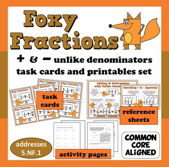 Foxy Fractions - adding/subtracting unlike denominators task cards + printables