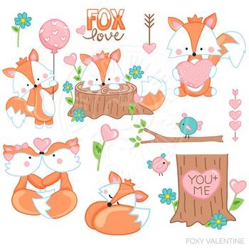 Foxy Valentine Cute Digital Clipart, Valentines Day Clip Art