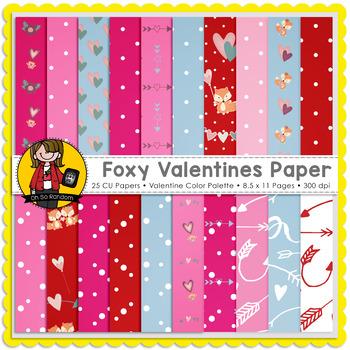 Foxy Valentines Digital Papers {CU}