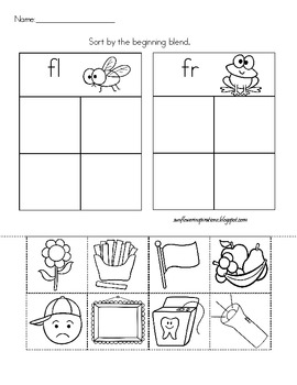 Fr and Fl Blends Sort- Frog or Fly? Freebie!!
