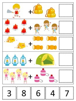 Camping themed Math Addition preschool printable game.  Daycare curriculum.
